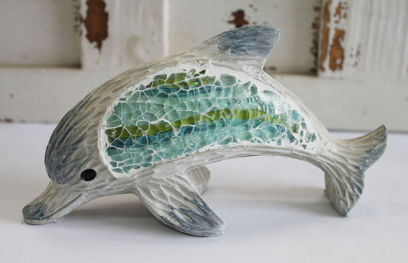 Wood Dolphin with Inlaid Crushed Glass