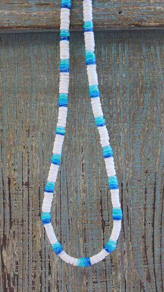 White Shell & Blue Chip Necklace