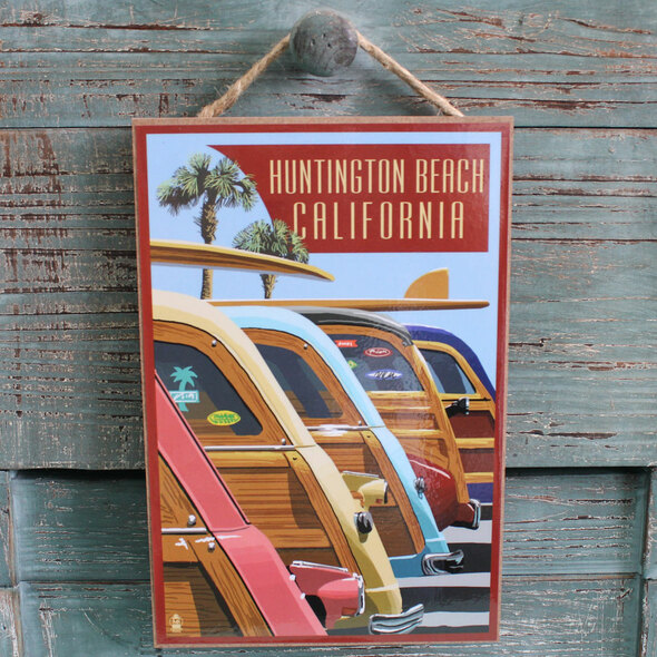 Woodies Lined Up Huntington Beach