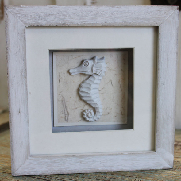 White Seahorse Shadow Box