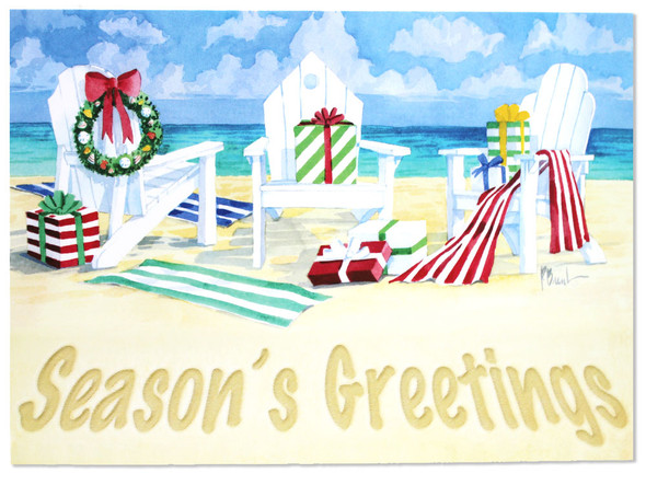 Season's Greetings - Three Beach Chairs Holiday Cards