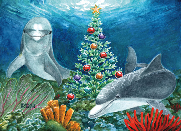 Christmas Dolphins Cards