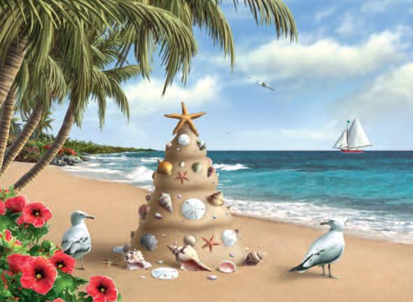 Sand Tree Christmas Card
