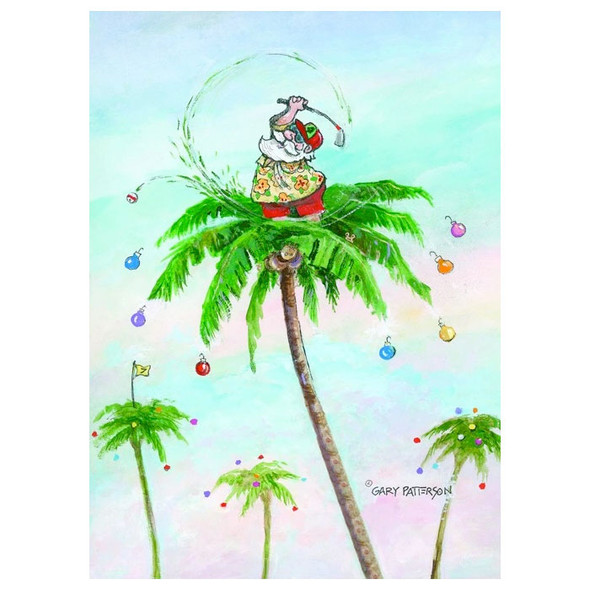 Golfing Santa in Palm Tree