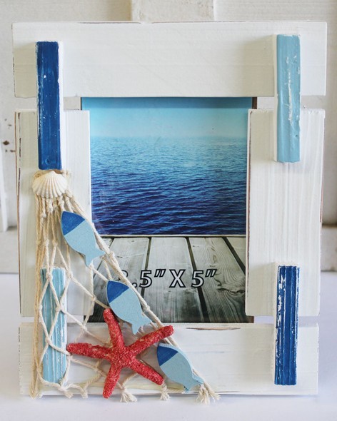 White & Blue Frame with Fish Net