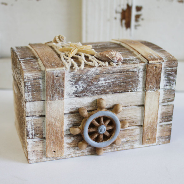 Small Brown Box with Ships Wheel