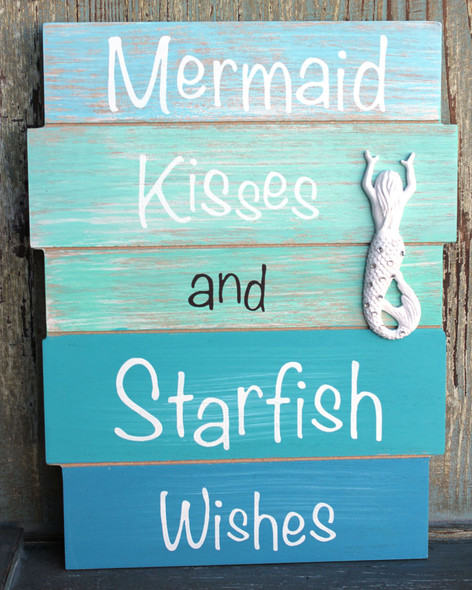 Mermaid Kisses and Starfish Wishes Wood Sign