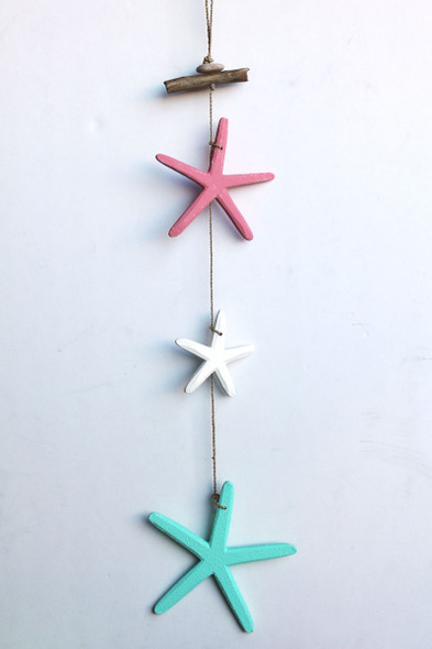 Multi-color triple star dangling garland.