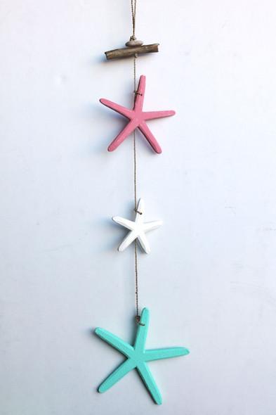 Multi-color triple star dangling garland.