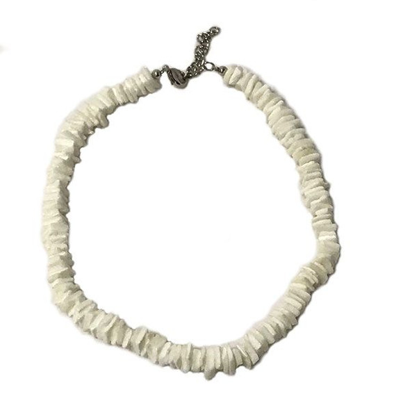 "16"" White Puka Chip Necklace"