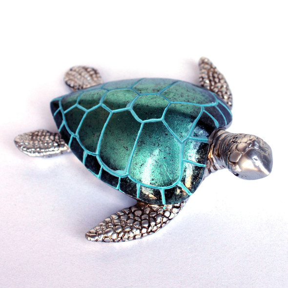 "Pearl Turquoise 4"" Resin Sea Turtle Figurine"