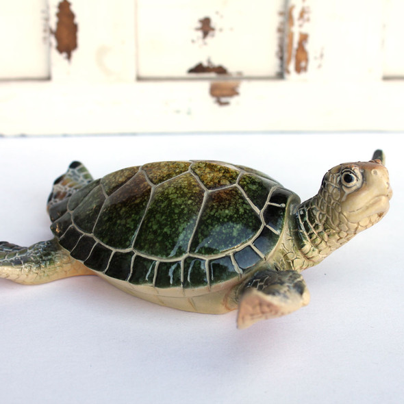 Large Green Resin Turtle Figurine