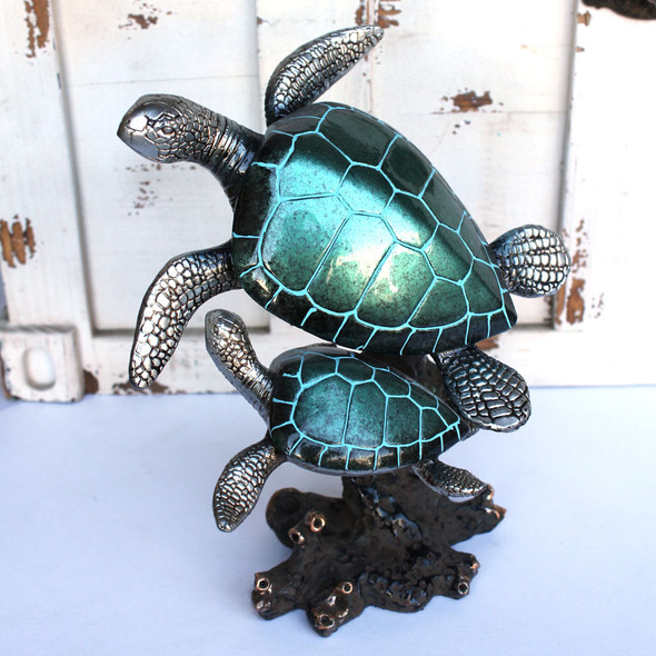 Double Pearl Turquoise Sea Turtle Figurine