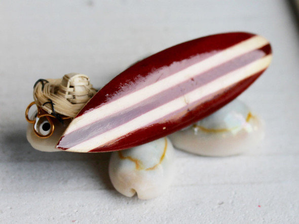 Surfin Turtle with Wood Surfboard