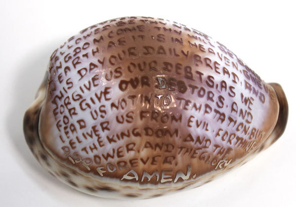 Lord's Prayer Carved Cowrie