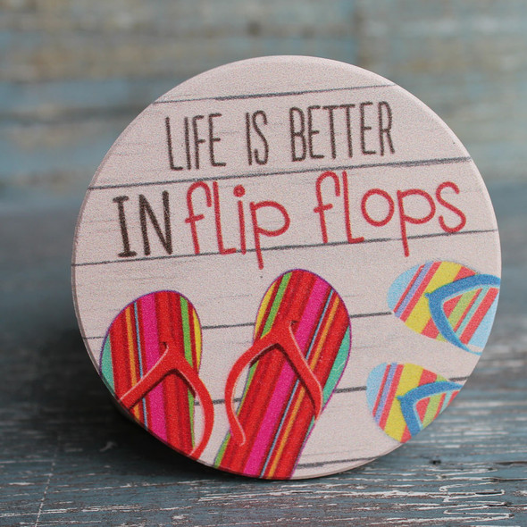 Life is better in flip flops car coaster.