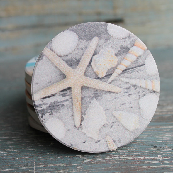 White Starfish Car Coaster