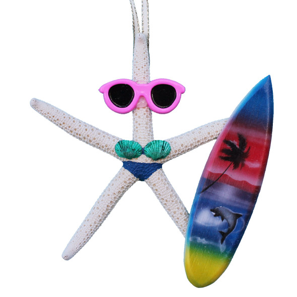 Surfer Girl Starfish Ornament - Navy Blue