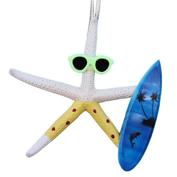 White Finger Starfish Surfer Ornament - Yellow