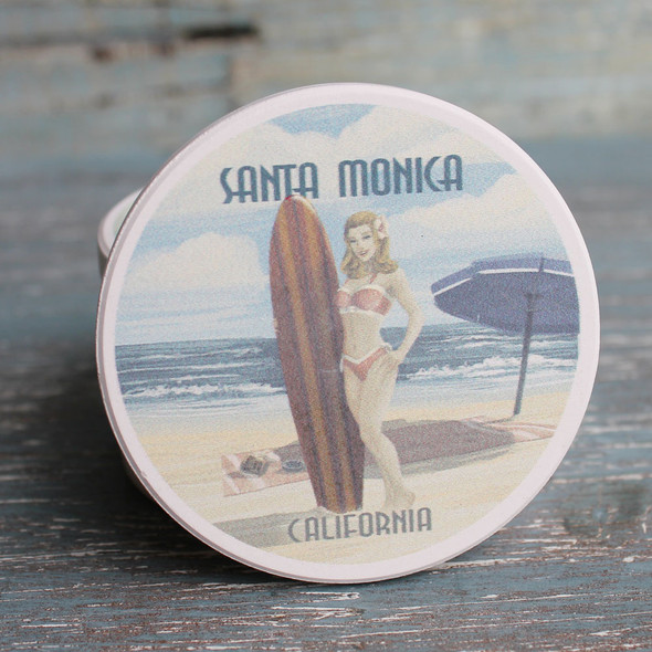 Santa Monica Surfergirl Pinup Car coaster
