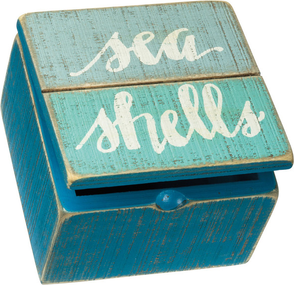 Sea Shells Hinged Slat Box
