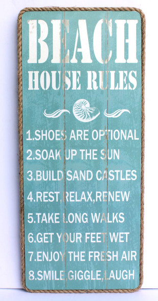 Beach House Rules Sign with Rope Border