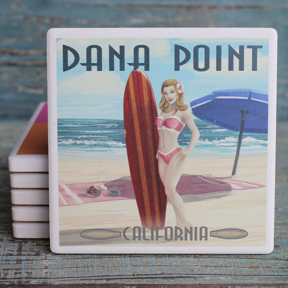 Dana Point Pinup Surfer Girl Coaster
