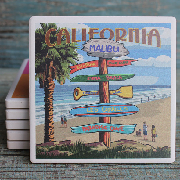 Malibu Destination Signs Coaster
