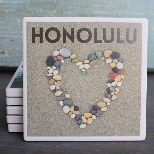 Honolulu Stone Heart Coaster