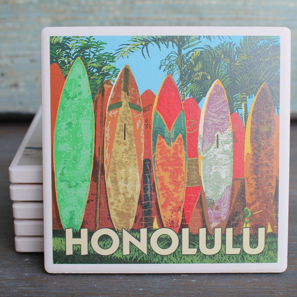 Honolulu Surfboard Fence coaster