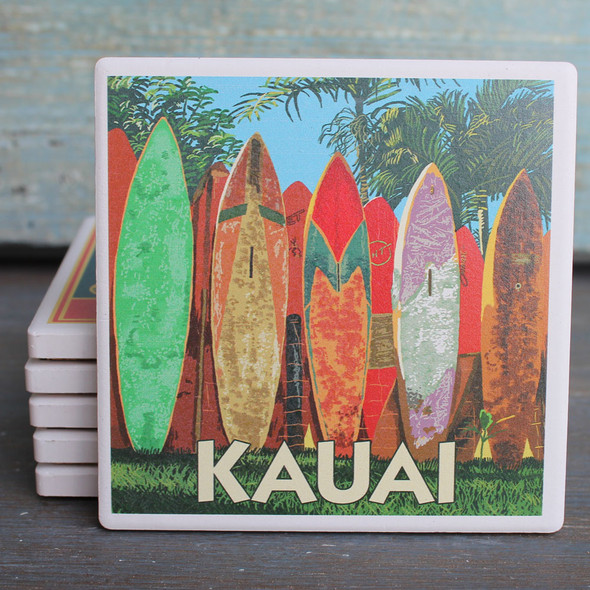 Kauai Surfboard Fence coaster