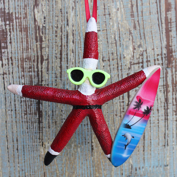 Surfing Santa Starfish Ornament