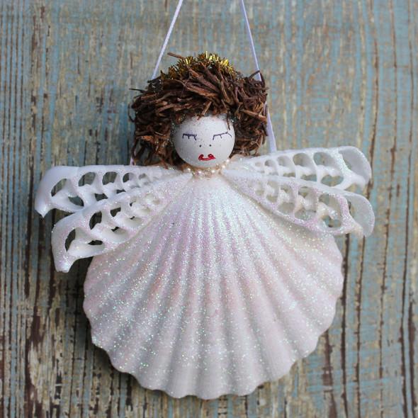 Halo Seashell Angel Ornament