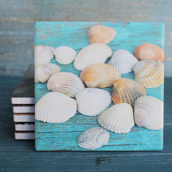 Shells on Wood Coaster