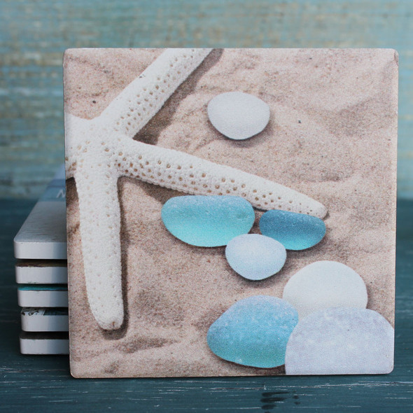 Sea Glass on Sand coaster