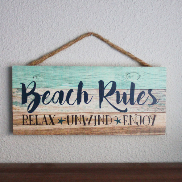 Beach Rules Rope Sign