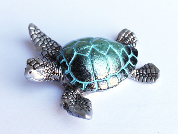 Pearl Turquoise Sea Turtle Figure