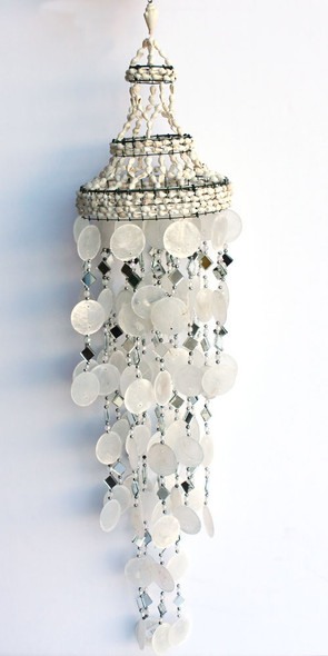 White Capiz Shell & Mirror Wind Chime