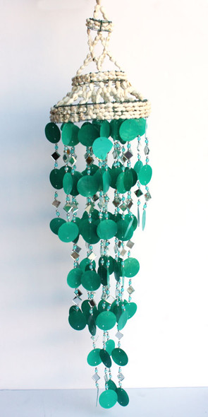 Teal Capiz and Mirror Chime