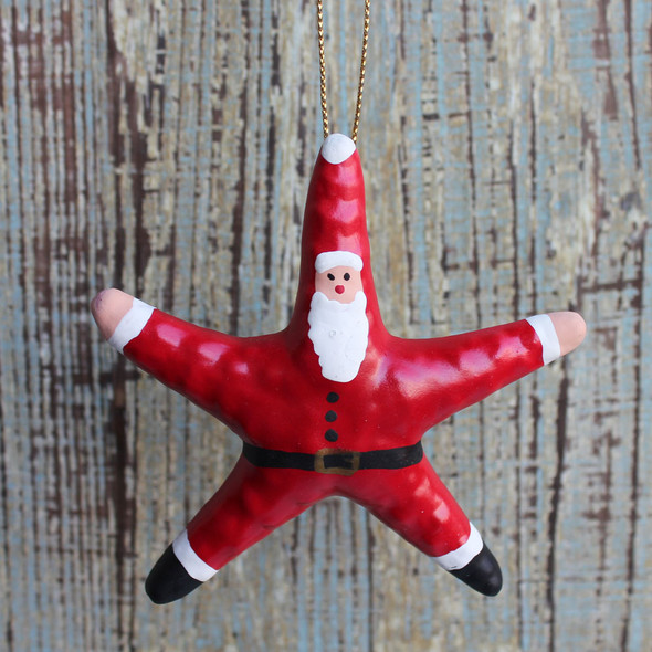 Clay Starfish Santa Ornament