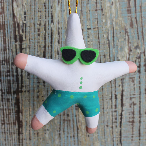 Surfer Starfish Clay Ornament - Set of 3