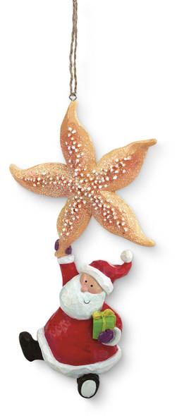 Santa Hanging on a Starfish Ornament