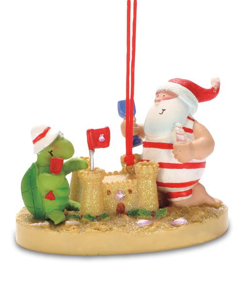 Santa and Turtle Building a Sand Castle