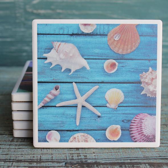 Shells on Blue Deck Coaster