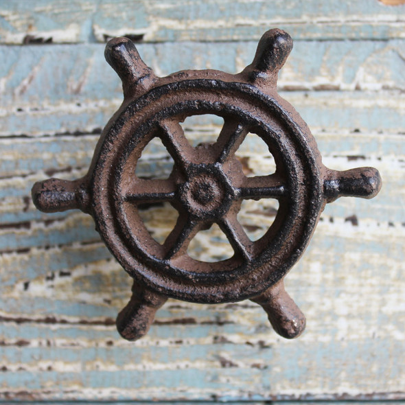 Rust Ship Wheel Iron Knob