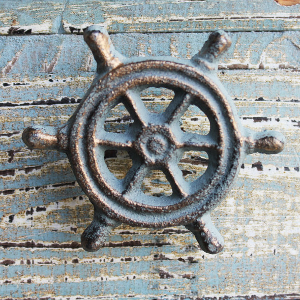 Green Ship's Wheel Iron Knob