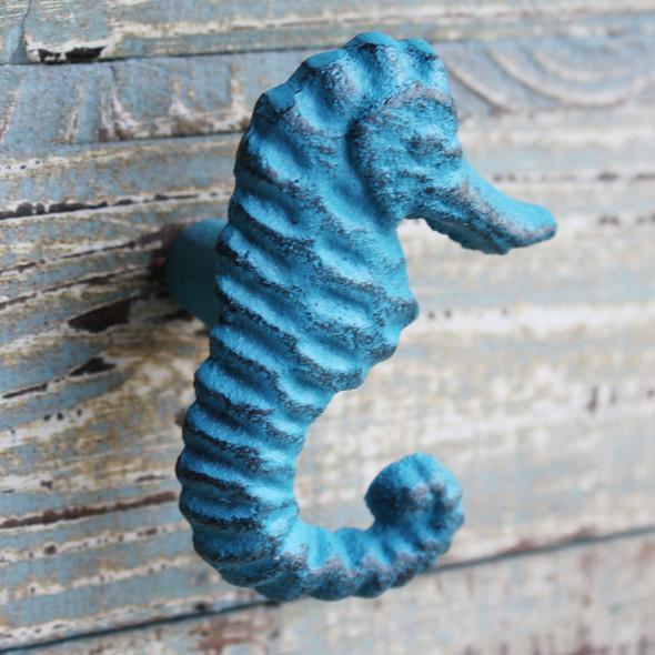 Blue Seahorse Iron Knob