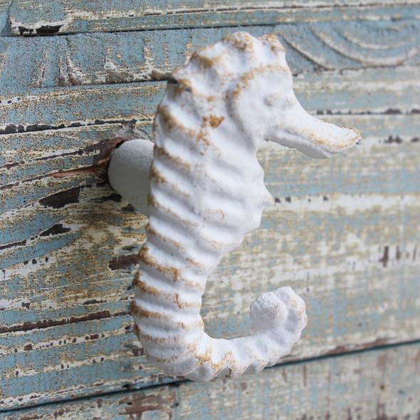 White Seahorse Iron Knob
