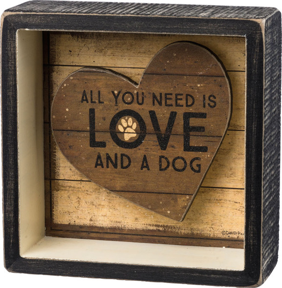 All You Need is Love and a Dog Shadow Box Sign