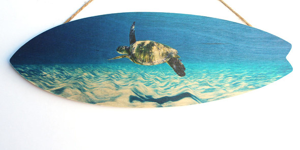 Sea Turtle Swimming Surfboard Sign
